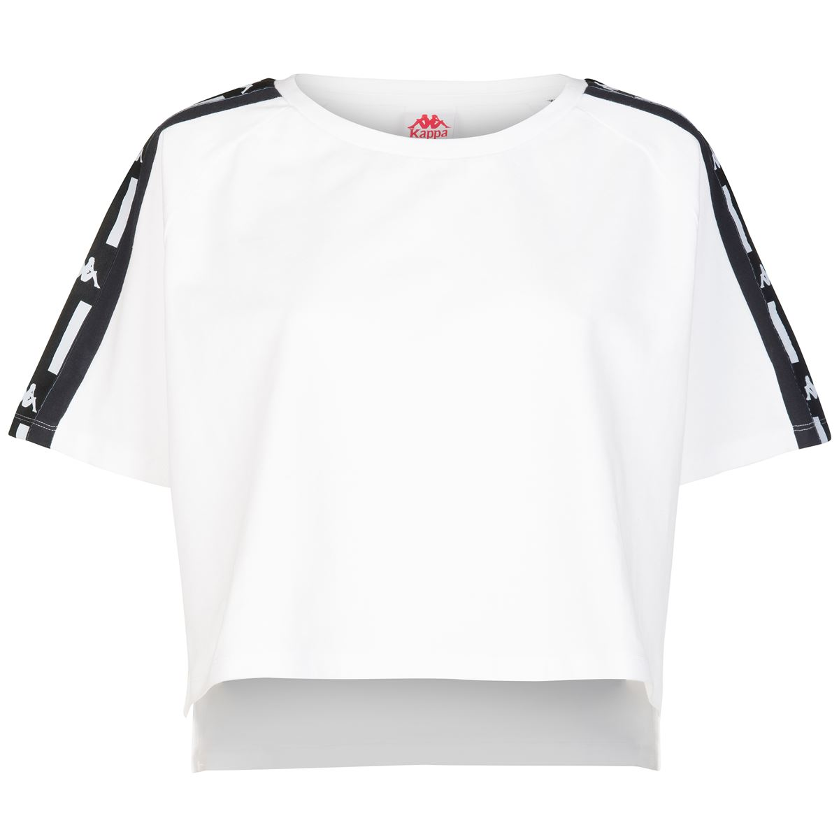 T-shirt crop da donna in jersey Kappa | T-shirt | 304SVY0905 WHITE-BLACK