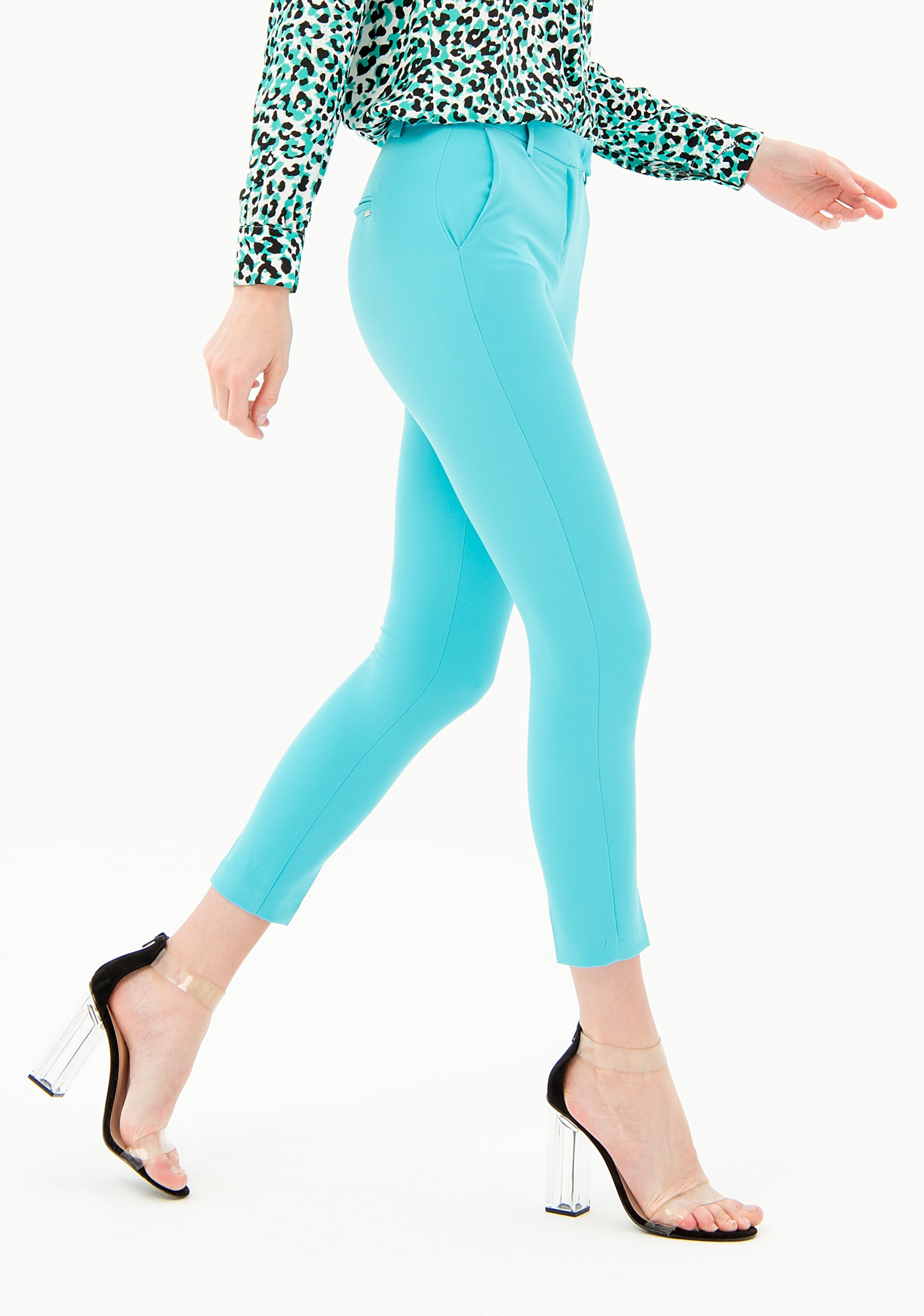PANTALONI SKINNY DAL TAGLIO SARTORIALE FRACOMINA | Pantalone | FR21SP3006W42901268 TURQUOISE