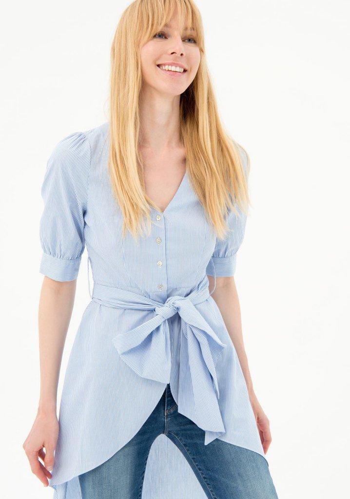 Camicia manica 3/4 FRACOMINA | Camicie | FR21ST1010W437N8I24 WHITELIGHTBLUE