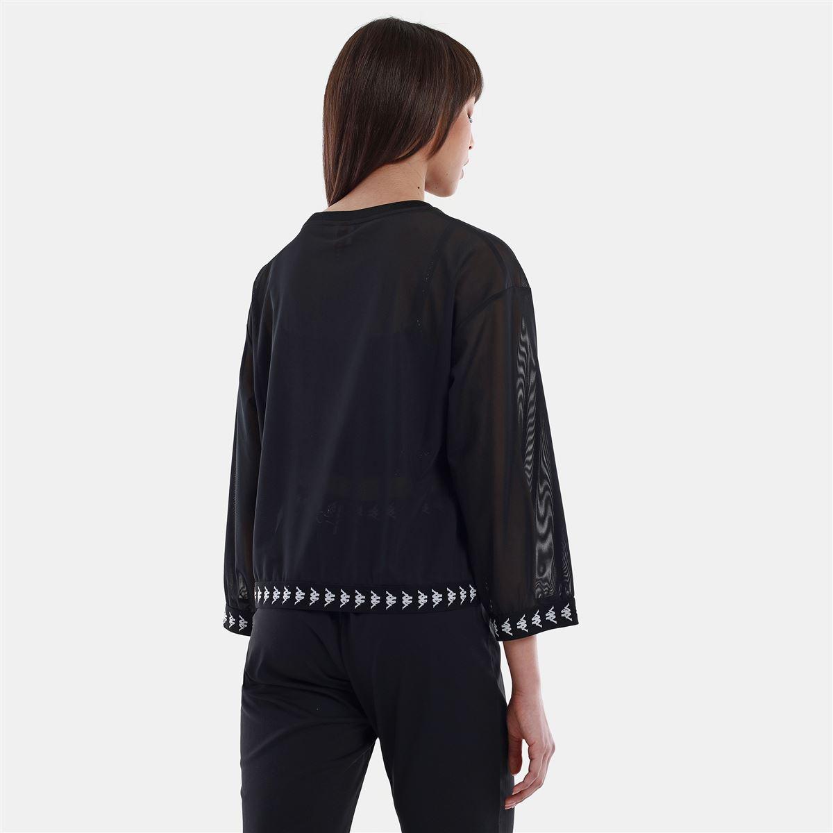 T-shirt donna in rete trasparente Kappa   T-shirt   3117CHWBZB BLACK-WHITE-BLACK
