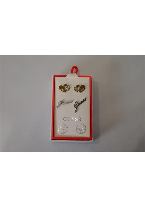 set orecchini cuori/logo GUESS JEWELRY | Accessori | JUBS29411ORO ACCIAIO