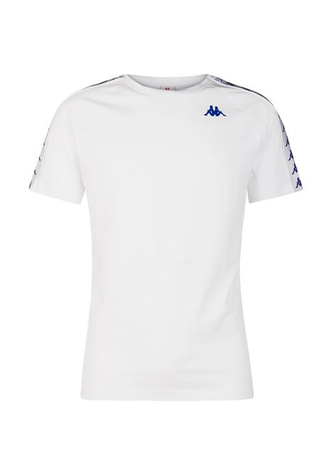 T-shirt girocollo da uomo in jersey Kappa | T-shirt | 303UV10A63 WHITE-VIOLET-BLUE
