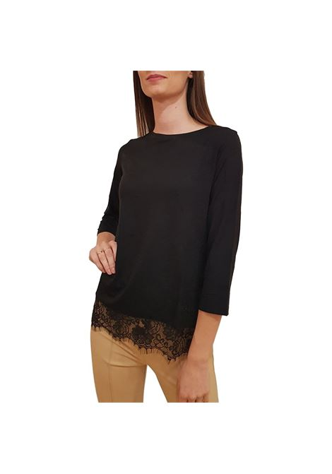 boat neck t-shirt FRACOMINA | Maglie | F120W03015J00901053 BLACK