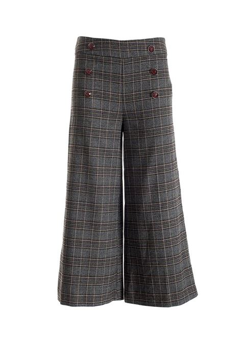 Pantaloni culotte regular in tessuto principe di Galles FRACOMINA | Pantalone | F120W10025W01301210 MULTICOLOR