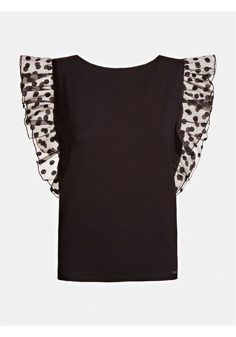 TOP JERSEY TESSUTO A CONTRASTO GUESS | Top | W0YP0H K68D2JBLK