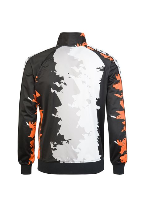 Felpa da uomo in poliestere garzato con grafica all over Kappa | Felpa | 3031UT0BYI BLACK-WHITE-ORANGE