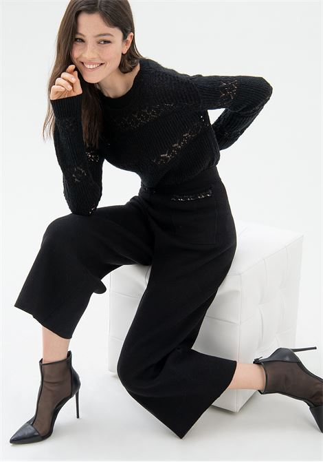 Pantalone culotte cropped in tessuto tecnico FRACOMINA | Pantalone | F321WV2003K45901053 BLACK