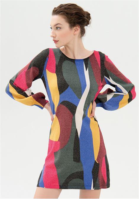 Abito regular mini in maglia con lurex e con fantasia geometrica FRACOMINA | Abiti | FR21WD5004K46301210 MULTICOLOR