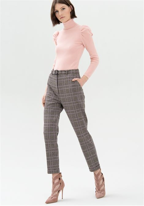 Pantalone a sigaretta in tessuto Principe di Galles FRACOMINA | Pantalone | FR21WV4004O41695I74 CAMELCIPRIA