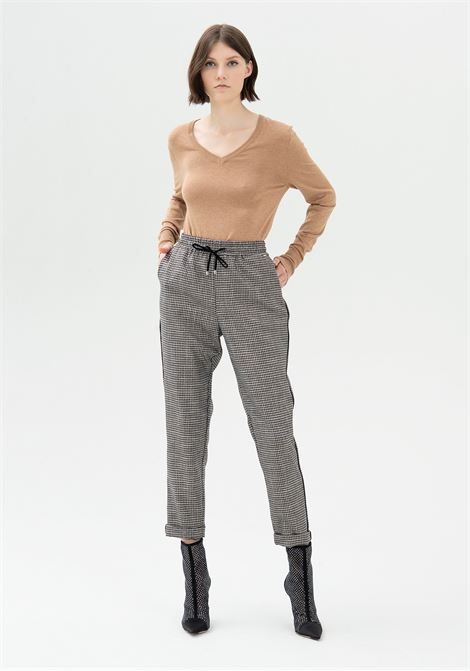 Pantalone jogger regular in tessuto pied de poule FRACOMINA | Pantalone | FR21WV4006W45995557 GREYBLACK
