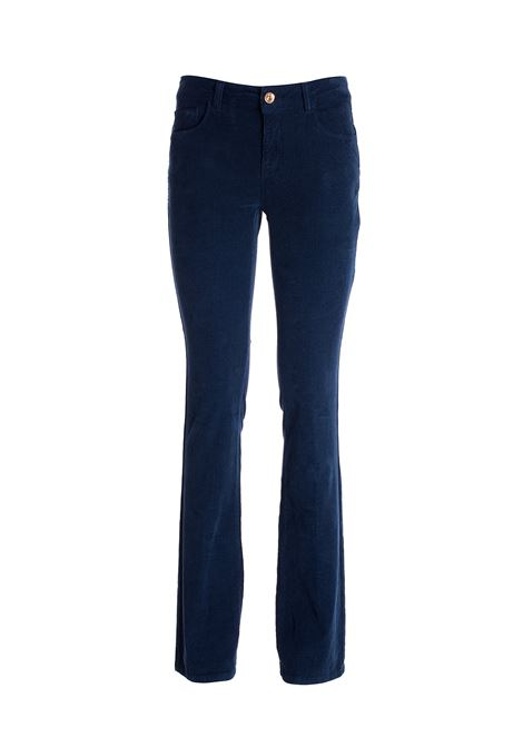 Pantalone bootcut effetto push up in velluto mille righe FRACOMINA | Pantalone | FR21WV8007W401C7117 DARKBLUE