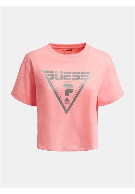 T-shirt crop triangolo logo GUESS ACTIWEAR | T-shirt | O1BA70 JR06ZAMPM