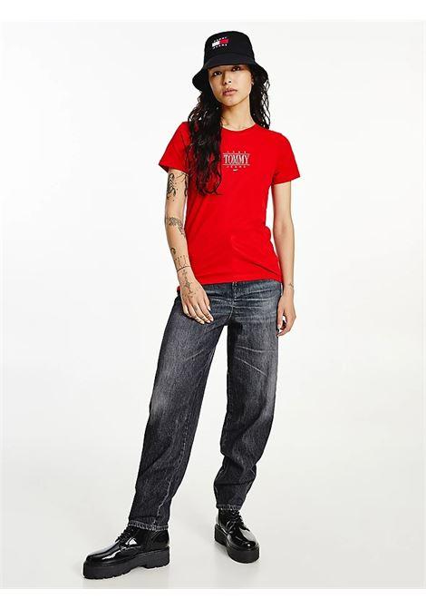 T-SHIRT ESSENTIAL SKINNY FIT CON LOGO TOMMY JEANS | T-shirt | DW0DW11239XNL DEEP CRIMSON