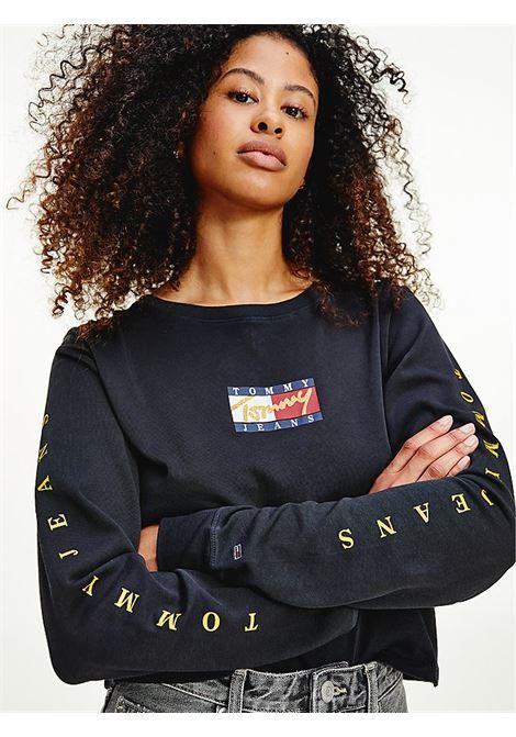 T-SHIRT A MANICHE LUNGHE CON LOGHI TOMMY JEANS | T-shirt | DW0DW11277BDS BLACK