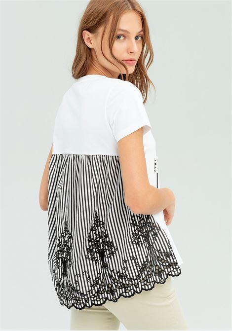 T-shirt con stampa e schiena a righe FRACOMINA   T-shirt   FR20SP318109 CREAMBLACK