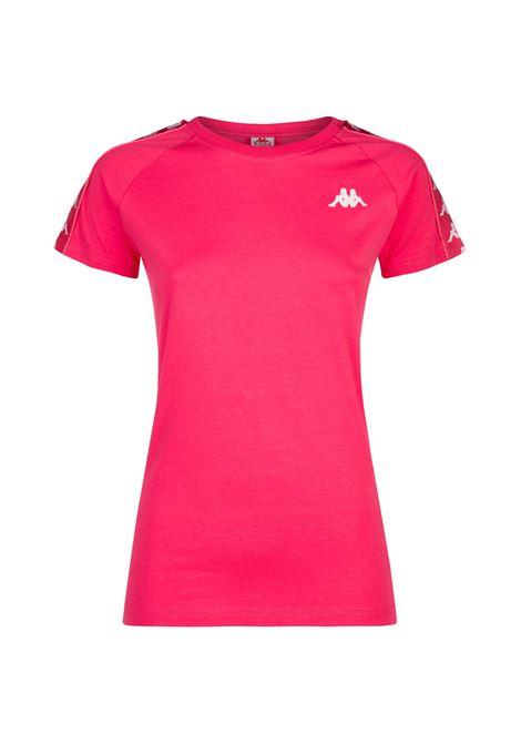 T-shirt da donna girocollo in jersey. Kappa | T-shirt | 303H1U0A06 REDFRAGOLA-WHITE