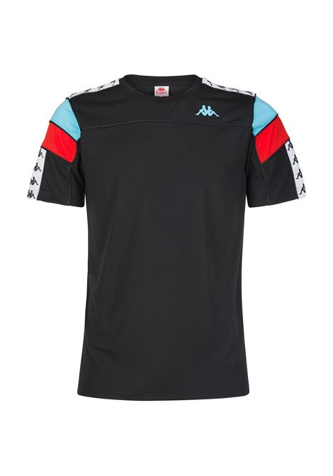 T-shirt da uomo girocollo in jersey Kappa | T-shirt | 303WBS0A6C BLACK-WHITE-TURQ-RED