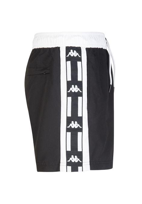 Costume a pantaloncino da uomo in nylon taslon Kappa | Costumi | 304SV70900 BLACK-WHITE-BLACK
