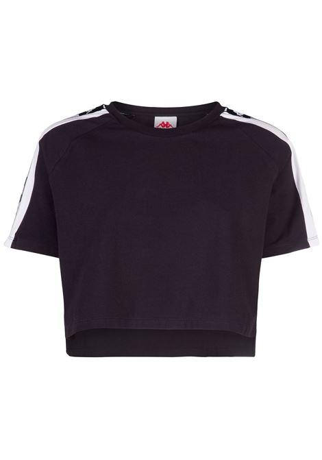 T-shirt crop da donna in jersey Kappa | T-shirt | 304SVY0900 BLACK-WHITE-BLACK