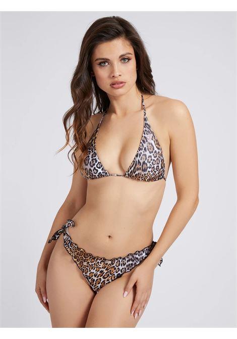 BIKINI TRIANGOLO STAMPA ANIMALIER GUESS ACTIWEAR | Bikini - pezzo sopra | E02J25 MC045P1H6