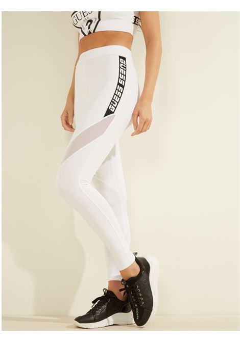 LEGGINGS MICROFIBRA BANDA LOGATA GUESS ACTIWEAR | Pantalone | O1GA54 MC03WTWHT