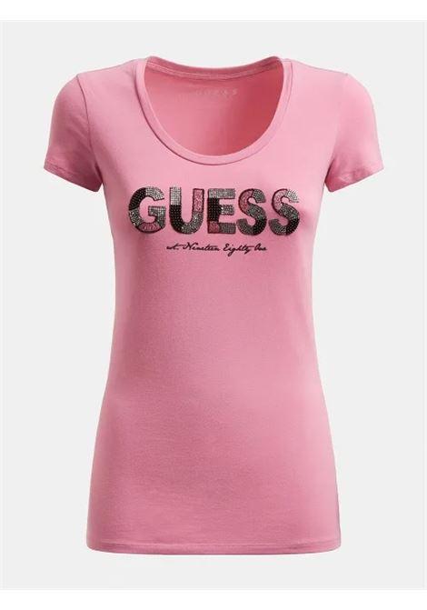 T-SHIRT LOGO FRONTALE GLITTER GUESS | T-shirt | W1GI36 J1300G61E