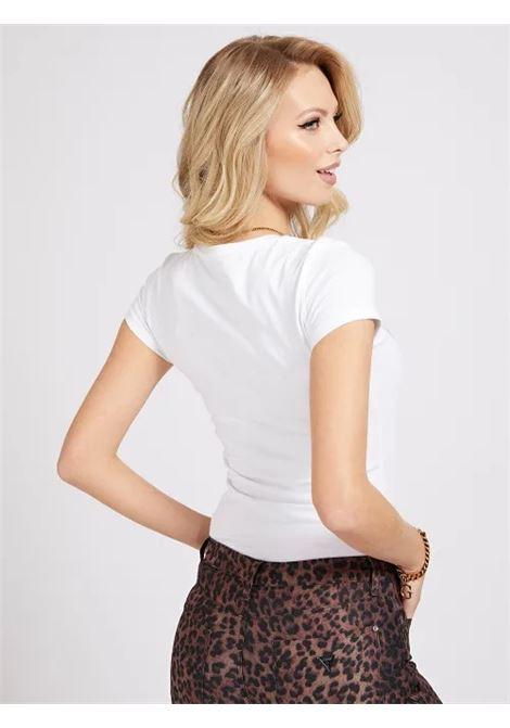T-SHIRT LOGO FRONTALE GLITTER GUESS | T-shirt | W1GI36 J1300TWHT