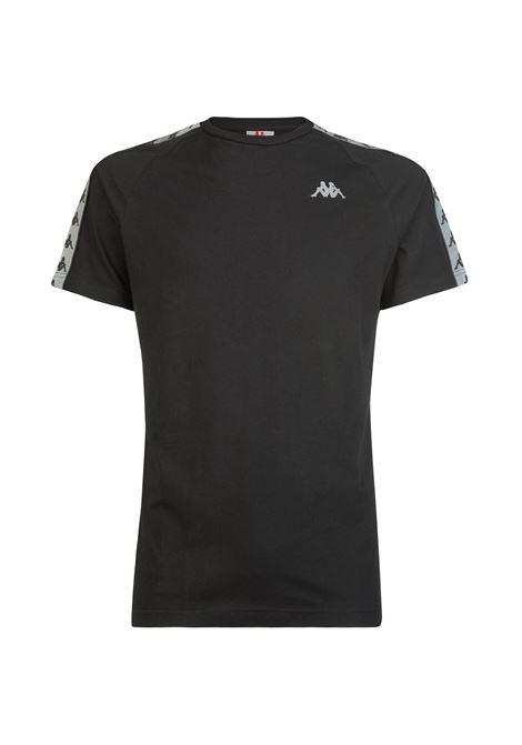 T-shirt girocollo da uomo in jersey. Kappa | T-shirt | 304UTR0900 BLACK-GREYREFLECTIVE