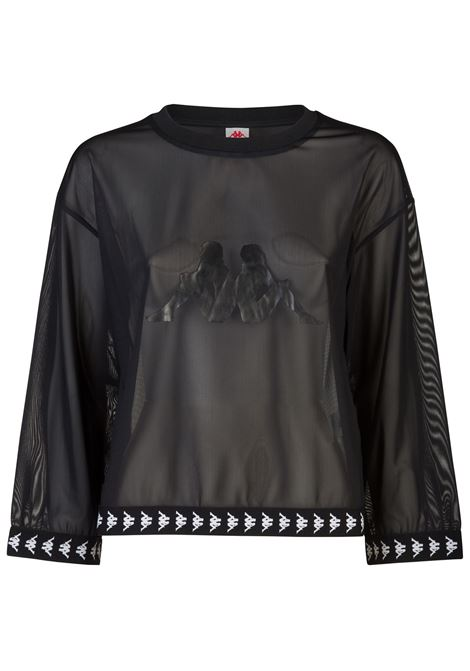 T-shirt donna in rete trasparente Kappa | T-shirt | 3117CHWBZB BLACK-WHITE-BLACK