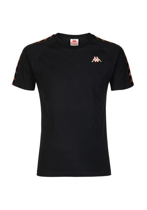 T-shirt girocollo da uomo in jersey Kappa | T-shirt | 37144YWA00 BLACK-ORANGE PEACH
