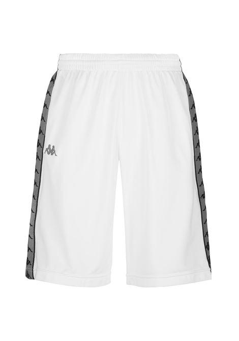 Bermuda da uomo in tricot garzato Kappa | Pantalone | 37145CWA0E WHITE-GREY REFLECTIVE