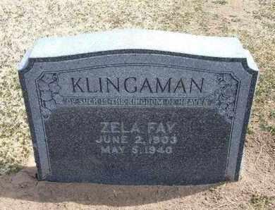 KLINGAMAN, ZELA FAY - Grant County, Kansas | ZELA FAY KLINGAMAN - Kansas Gravestone Photos