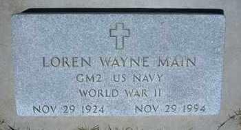 MAIN, LOREN WAYNE   (VETERAN WWII) - Grant County, Kansas | LOREN WAYNE   (VETERAN WWII) MAIN - Kansas Gravestone Photos