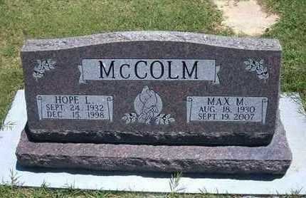 WHITE MCCOLM, HOPE LORENE - Grant County, Kansas | HOPE LORENE WHITE MCCOLM - Kansas Gravestone Photos