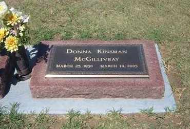 KINSMAN MCGILLIVRAY, DONNA - Grant County, Kansas | DONNA KINSMAN MCGILLIVRAY - Kansas Gravestone Photos
