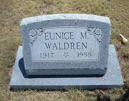 WALDREN, EUNICE M - Greeley County, Kansas | EUNICE M WALDREN - Kansas Gravestone Photos