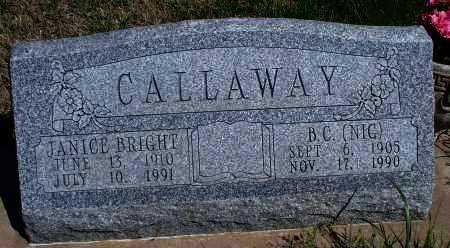 BRIGHT CALLAWAY, JANICE - Montgomery County, Kansas | JANICE BRIGHT CALLAWAY - Kansas Gravestone Photos