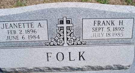 FOLK, JEANETTE A. - Montgomery County, Kansas   JEANETTE A. FOLK - Kansas Gravestone Photos