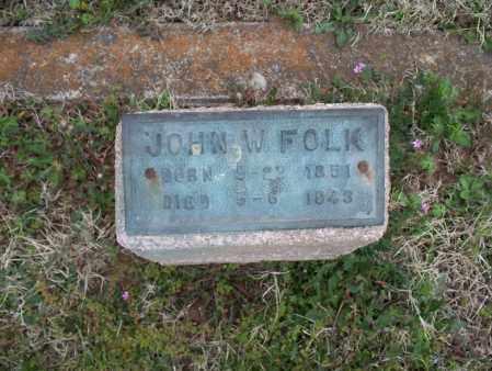 FOLK, JOHN W - Montgomery County, Kansas | JOHN W FOLK - Kansas Gravestone Photos
