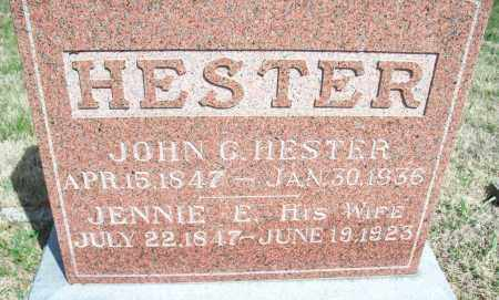 HESTER, JOHN G. - Montgomery County, Kansas | JOHN G. HESTER - Kansas Gravestone Photos