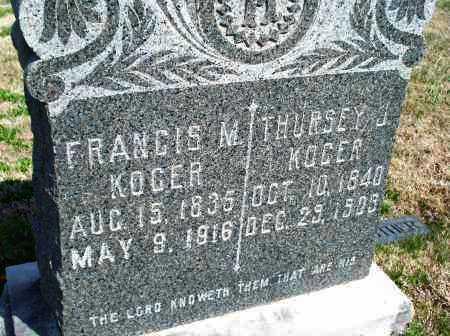 KOGER, FRANCIS M. - Montgomery County, Kansas | FRANCIS M. KOGER - Kansas Gravestone Photos