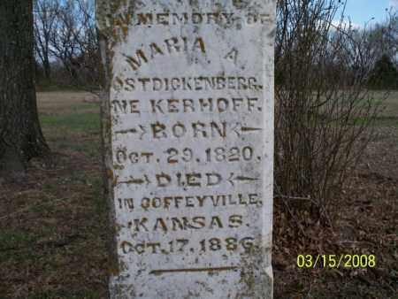 OSTDICKENBERG, MARIA A - Montgomery County, Kansas | MARIA A OSTDICKENBERG - Kansas Gravestone Photos