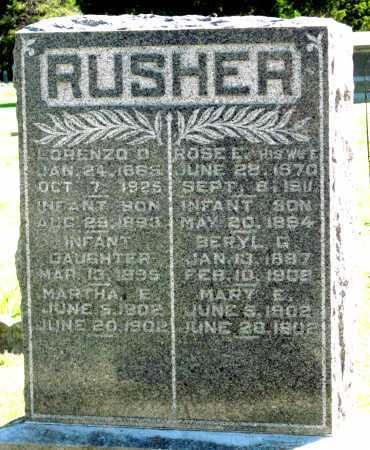 RUSHER, LORENZO D - Montgomery County, Kansas | LORENZO D RUSHER - Kansas Gravestone Photos