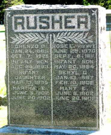 RUSHER, INFANT SON - Montgomery County, Kansas | INFANT SON RUSHER - Kansas Gravestone Photos