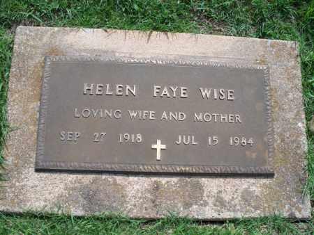 WISE, HELEN FAYE - Montgomery County, Kansas | HELEN FAYE WISE - Kansas Gravestone Photos