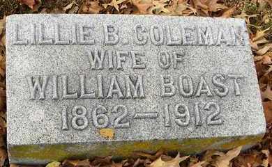 COLEMAN BOAST, LILLIE BELLE - Shawnee County, Kansas | LILLIE BELLE COLEMAN BOAST - Kansas Gravestone Photos
