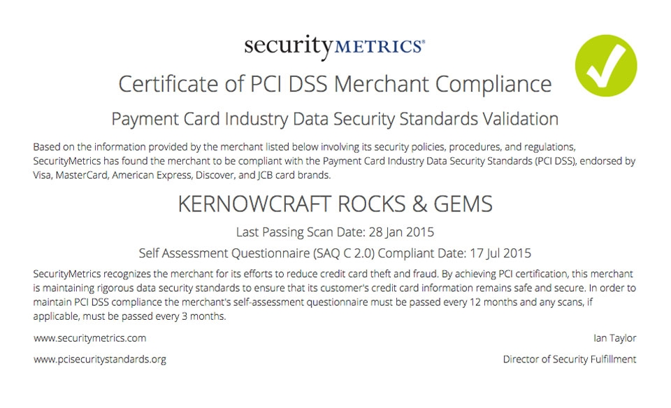 Kernowcraft PCI Compliant Safe Website