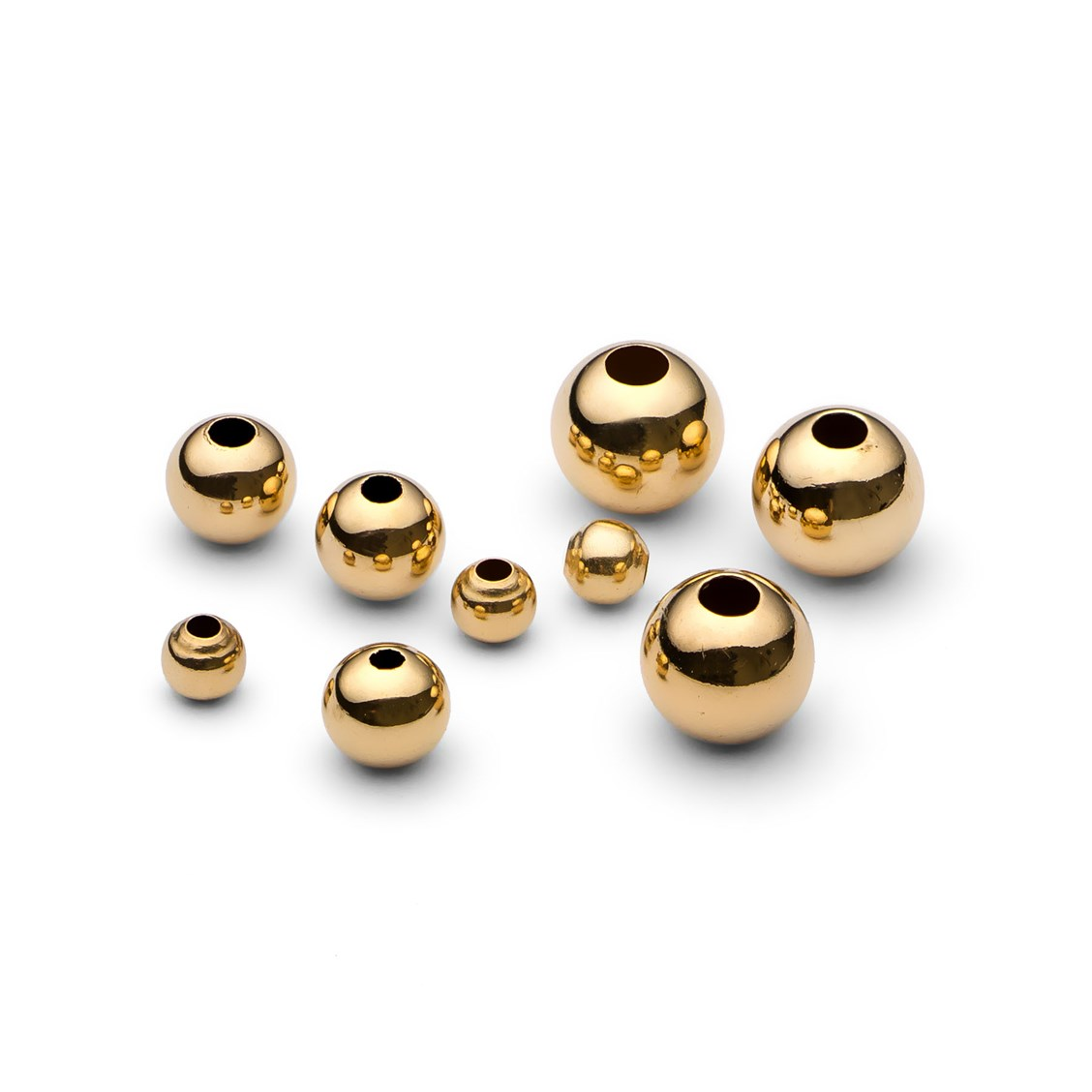 9ct Gold Plain Round Beads