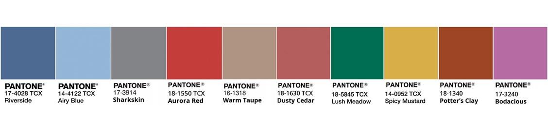 Colour palette pantone 2016