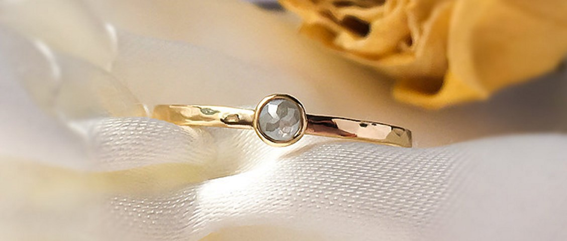 silver diamond gold ring
